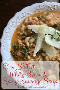 One Skillet White Bean and Spicy Sausage Soup
