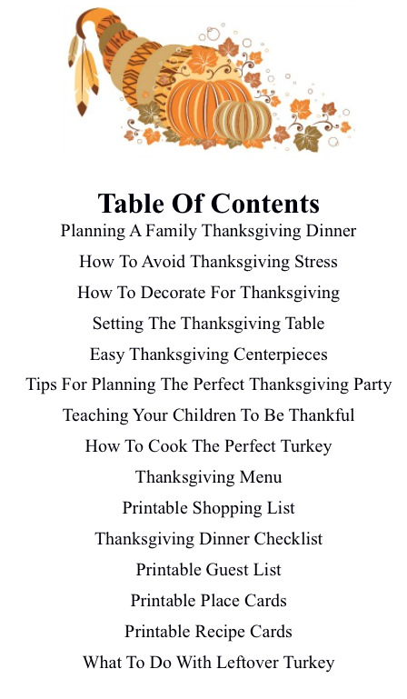 Table Of Contents Thanksgiving Dinner Guest List
