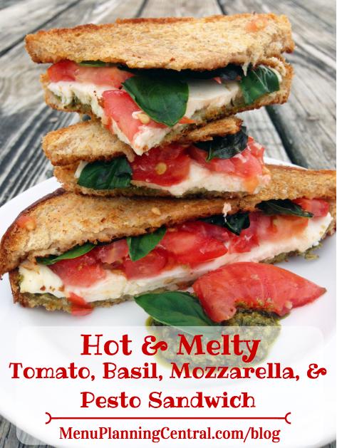 Hot & Melty Tomato, Basil, Mozzarella, & Pesto Sandwich