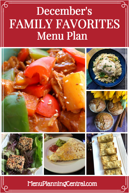 December Family Favorites Menu Plan